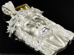 Wholesale Yellow Gold Jesus Pendant - 10k White Gold Mens Real Diamond Jesus Matte Satin Pendant Charm 11.35 Ct