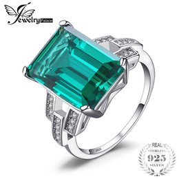 Wholesale emerald ring set - wholesale Luxury 5.9ct Created Green Emeralds Cocktail Ring Pure 925 Sterling Silver Engagement Vintage Jewelry