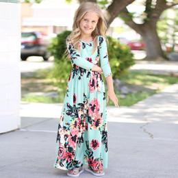 2019 vestidos geométricos del boutique Los niños de la niña de moda Boho vestido largo Maxi vestido de manga larga vestido floral Los bebés de bohemia vestido de princesa Floral de verano