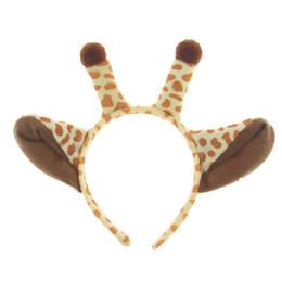 Bandas para la cabeza de disfraces de animales online-Palos del pelo de la jirafa de la felpa venda de los oídos de Halloween Niños Animal Costume Fancy Cosplay Dress Up Accesorios para el cabello Fuentes del partido 300 unids AAA805
