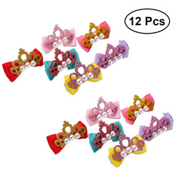 crown for infant Coupons - 12pcs Bowknot Hair Clip Pearl Crown Delicate Hair Accessory Pins Tie for Baby Girl Infant Kids