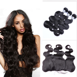 Wholesale human body ears - Brazilian Body Wave Human Virgin Hair Weaves With Lace Frontal 3bundles With 13x4 Ear To Ear Lace Frontal Double Wefts Natural Black Hair
