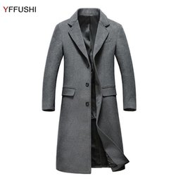 Wholesale mens wool cashmere blend overcoats - YFFUSHI 2017 Mens Overcoat Wol Plus Long Turn-down Collar Wool Coat Men Business Casual Style Slim Fit Fashion Young Men