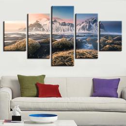 Горные картины онлайн-Холст Печатные плакаты Wall Art Frame 5 штук Исландия Vestrahorn Горы Живопись Натуральные пейзажи Картинки Модульный домашний декор