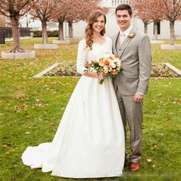 Wholesale New Hot Elegant Bridal Gown - Hot Selling New Vintage Wedding Dresses White Ivory Elegant V-Neck Sweep Train 3 4 Long Sleeve Classical Bridal Gowns Vestido De Noiva
