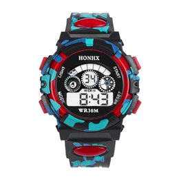 Wholesale new digital camouflage - HONHX 62 3 eyes design kids boys girls sport digital watch fashion children students outdoor led light camouflage wrist watches
