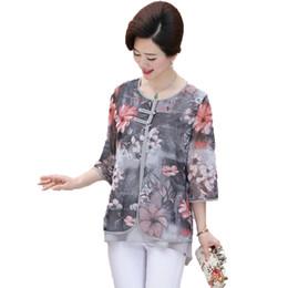 Blu bluse di fiori online-Camicette in chiffon etniche donna WAEOLSA stile cinese Camicette in chiffon etniche blu fiore rosso verde Donna Camicetta con bottoni orientali