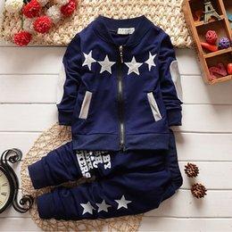 2019 niños abrigo estrellas primavera otoño baby boy conjuntos de ropa star zip coat + sport pants conjunto de ropa niños niños traje deportivo para niños conjunto de chándal niños abrigo estrellas baratos