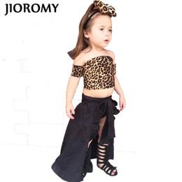8833e55014b 2018 summer girls European and American clothing sets INS Leopard print tube  top+skirt+shorts+headban 3 pcs clothes for children