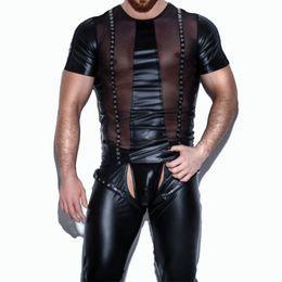 Сексуальный мокрый кожаный костюм онлайн-Black Faux Leather Lingerie Top Erotic Gay Wet Look Front Mesh See Through Sexy Men's Nightclub Latex Catsuit Men Exotic Teddies