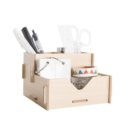 Wholesale Office Desk Styles - 1PCS Creative Colorful Wooden Desk Organizer Office Sundries Storage Box Modern Style Eco Wood Remote Controller Holder