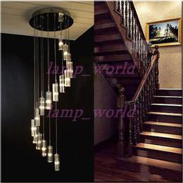 Wholesale chandelier s - Modern Minimalist Fashion Transparent K9 Crystal Block S-shaped Duplex Staircase Pendant Chandelier Lighting Lamps Light For Hotel