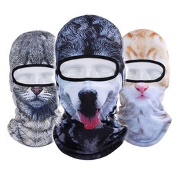 Wholesale hot dog hat - Hot Sale 2017 3D Cap Dog Animal Sports Bicycle Cycling Motorcycle Ski Hood Hat Veil Balaclava UV Full Face Mask Drop Shipping