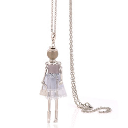 Wholesale Charm Stores - 2017 charm yarn cloth dress doll necklace fashion necklaces for women big choker stores christmas pendants jewelry long chain