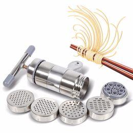 Manual Noodle Maker Press Pasta Machine Crank Cutter Frutas Juicer Cookware con 5 moldes de presión Fabricación de utensilios de cocina Spaghetti desde fabricantes