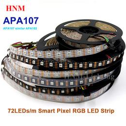 Télévision numérique blanche en Ligne-5V 5M 72LEDs / m APA107 Bande LED 5050 SMD Numérique Adressable Ruban Pixel Adressable Lumière Téléviseur Ambilight, Carte de circuits imprimés Blanc / Noir, IP20 / IP65 / IP67