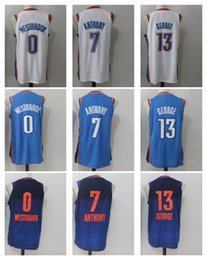 Wholesale george shirts - 13 Paul George 7 Carmelo Anthony 0 Russell Westbrook Men's Basketball Jerseys Player version Mens shirt Men Sport Jersey