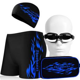 xl swim cap Desconto Homens Swimwear 5 Peças Conjuntos de Natação Troncos Mens New Sexy Swim Shorts Maiôs Com Cap Chapeamento Sacos de Banho