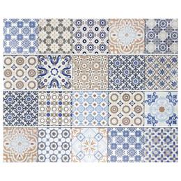 2019 mobiliário mediterrâneo 1 Pcs Quadrado Autoadesivo Do Vintage Azulejo Autocolantes Estilo Mediterrâneo Autoadesivo Vinil Home Decor móveis de cozinha Decalque mobiliário mediterrâneo barato