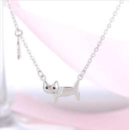Wholesale Fish Catfish - 925 sterling silver cat catfish necklace, cute cat stolen fish necklace to send girlfriend gift T0144