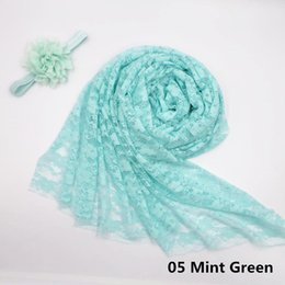 Wholesale Lace Baby Blanket - 3sets lot 150*80cm Soft Stretch Lace Wrap with Headband Newborn Baby Photography Props Multifunctional Infant Receiving Blanket