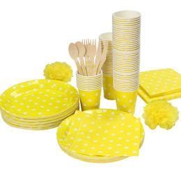 wholesale paper plates cups napkins UK - Wholesale- Promotion Yellow u0026 White Polka Dots Tableware  sc 1 st  DHgate.com & Shop Wholesale Paper Plates Cups Napkins UK | Wholesale Paper Plates ...