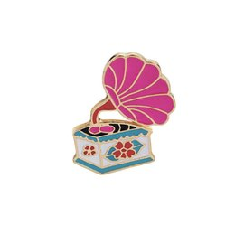 Wholesale Kawaii Plate - Kawaii Brooches Pins Pink Retro Phonograph Brooch Badges Enamel Pins For Clothes Backpacks Creative Gifts for Music Lover Lapel Pin Decorate