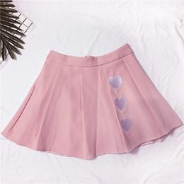 Dulce Kawaii Amor Bordado Cremallera Cremallera Cintura Alta Faldas  Plisadas 2018 Falda de Verano de Las Mujeres Venta Caliente rebajas faldas  kawaii e3ac466ad337
