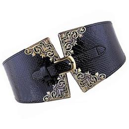 New Lady Women Cintura elástica Cintura ancha Cinturón Retro Metal Hebilla  de piel sintética Negro Azul Café Camello Rojo cinturón de cuero rojo ancho  ... e6cd4acd3b0e