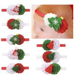 Fasce di capelli occidentali online-Christmas Tree Elastic Baby Headband Western Christmas Gift Kids Flower Headwear Christmas Party Dress Decorazione dei capelli