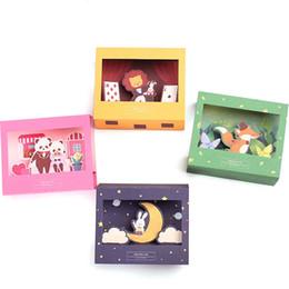 Wholesale panda papers - Wholesale- Free Shipping Cartoon Animals 3D Paper Folding Type Greeting Cards with Envelope Lion Rabbit Fox Panda Birthday Christmas Card