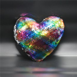 Wholesale Hotel Bedrooms Decor - 36*36cm Mermaid Sequins Cushion Cover Lovely Heart Shaped Pillow Case Bedroom Decor Bling Bling Bolster Comfortable Home Textiles