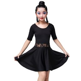 costume latino del merletto nero Sconti Kid ragazze costume da ballo gonna per ragazze salsa cha cha tango rumba samba pizzo nero ballo latino costumi manica lunga per bambini