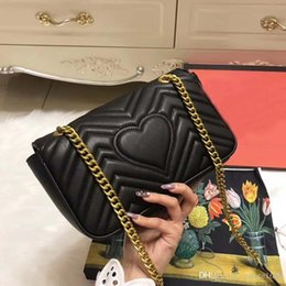 Wholesale leather large purse - Classic Lady Marmont Leather Messenger Bags Heart Women Crossbody Bags Gold Chains Large Purse 14 Colors Shoulers Bags Size 22 25 26 27cm