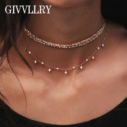 элегантные бисерные ожерелья Скидка GIVVLLRY Vintage Multilayered Chain Necklace Jewelry Elegant Gold Color Beaded Choker Star Tassel Collar Necklace for Women