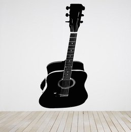 Wholesale Wall Art Guitars - Large size Guitar Wall Stickers Room Decor Art Vinyl Decal Sticker Mural Acoustic Guitar Big Home Decoration D179 Mural