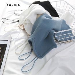 2019 vintage halter top blau Strap Knit Vest Frauen Design Tank Tops
