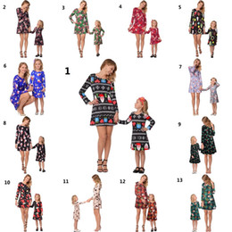 matching mother child clothes Promo Codes - Mommy And Me Family Matching Clothes Mother And Daughter Matching Dresses Christmas Deer Printed Dress Family Look Children Clothes Outfits