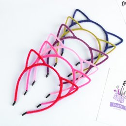Wholesale Girls Hair Scrunchies - New Hair Accessories Cute Cat Ear With Cloth Sexy scrunchy Headband With Plastic Inside Cute Girls Headband Hair Band