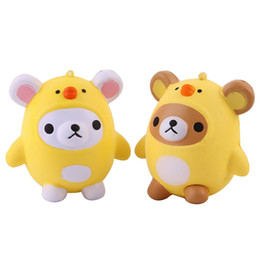 Wholesale chicken pendants - Cute Kawaii Soft Chicken Bear Squishy Squishi Charms Hanging Pendant Slow Rising forfor Children Relieves Stress Anxiety