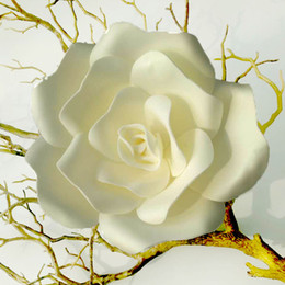 Blumenpapier wanddekoration online-Hochzeit Künstliche Rose Große Schaum Blume Hochzeit Bühne Hintergrund Wanddekoration Papier blume Home Party Decor Durchmesser 15 25 32 cm