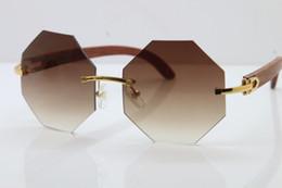 Lunettes de soleil en bois sculpté sans monture de bonne qualité Lunettes de qualité supérieure marque en bois chaude lunettes de soleil 4189706 de concepteur en bois brun avec la boîte rouge ? partir de fabricateur