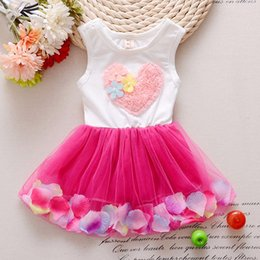Wholesale Green Floral Skirt - babies clothes Princess girls flower dress 3D rose flower baby girl tutu dress with colorful petal lace dress Tulle Skirt baby clothes