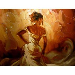 2019 figura de la señora 100% Hecho a mano de lienzo de arte abstracto figura pinturas al óleo dama en obras de arte de oro para el dormitorio regalo de Navidad rebajas figura de la señora