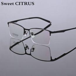 9301ec881186 Sweet CITRUS Pure Titanium Eyeglasses Men Half Rim Optical Frame  Prescription Spectacle Square Myopia Eye Glasses Brand Eyeglass