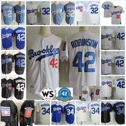 Wholesale 32 Shorts - Mens 1955 #32 Sandy Koufax Brooklyn Cooperstown Jersey 42 Jackie Robinson Jersey #34 Fernando Valenzuela Throwback Jerseys S-3XL