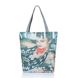 Wholesale Media Magazines - 2017 new arrival women handbags canvas Europe and America beautiful magazine lady printed shoulder bag fashion tote