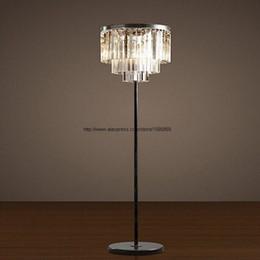 Wholesale Amber Knobs - Modern Vintage Clear Amber Grey Crystal Floor Lamp Bedroom Industrial Iron Floor Light Bedside Bedroom Stand Lighting