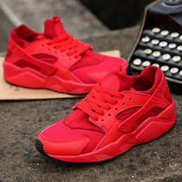 Wholesale 12 Boxes - 2018 Newest Huarache IV Running Shoes For Men & Women, Black White High Quality Sneakers Triple Huaraches Jogging Sports Shoes Eur5.5-12
