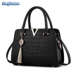 Bolso multi cremallera negro online-CANGTOUCUN Bolsos de Lujo Bolsos de Mujer Diseñador de Cocodrilo de Las Mujeres Totalizador Bolsas de Hombro Mensajero Negro Bolsas Femeninas S-126